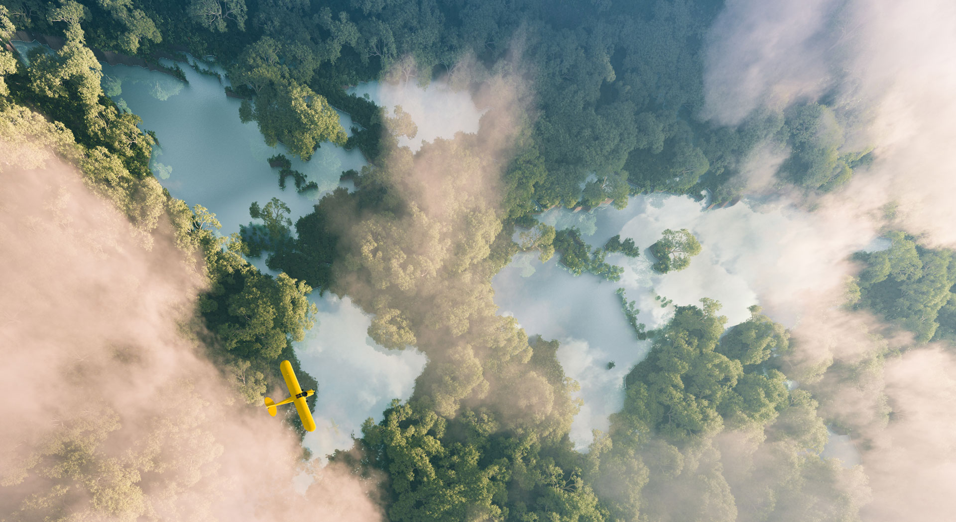 Aerial view of misty rainforest lakes in shape of world continents in dense jungle vegetation in beautiful late evening light.